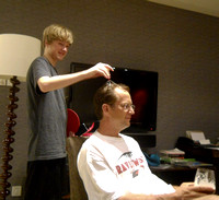 Jason bought this head massage thing that he is using on Nelson!